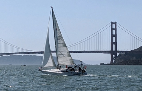 Golden Gate bridge sailing